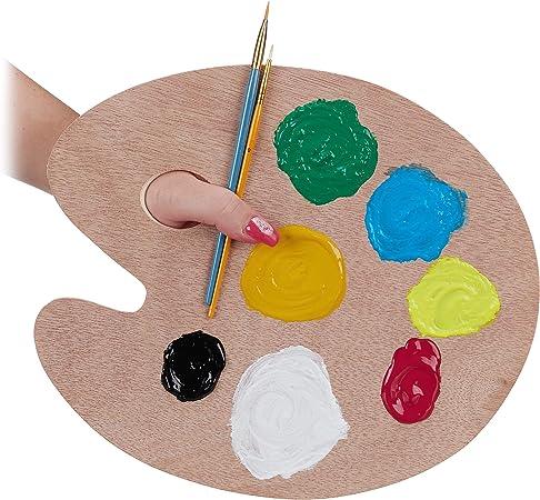 con Foro Relaxdays Tavolozza in Legno Naturale per Pittura acrilica Acquerello e acquerelli