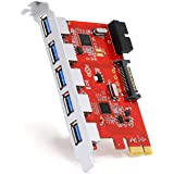 CSL - 5 Port incl. Header USB 3.0 PCI Express (PCIe) Controller | 5 x external (Ports) / 1 x internal (Controller/Header) | 15 pin SATA-power connection | Interface Card USB 3.0 Super Speed | internal USB Hub