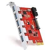 CSL - 5 Port incl. Header USB 3.0 PCI Express (PCIe) Controller | 5 x external (Ports) / 1 x internal (Controller/Header) | 15 pin SATA-power connection | Interface Card USB 3.0 Super Speed | internal USB Hub