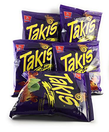 Amazoncom Takis Fuego Hot Chili Pepper Lime Tortilla Chips 4z