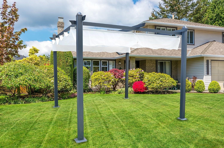 Pérgola de aluminio con toldo retráctil de 300 x 300 cm para exterior o jardín: Amazon.es: Hogar