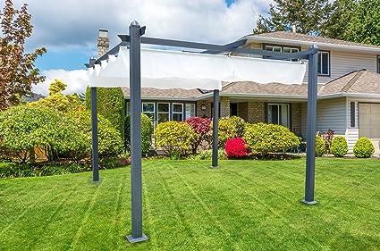 Italfrom - Pérgola de aluminio con toldo retráctil de 400 x 300 cm para exterior o jardín: Amazon.es: Hogar