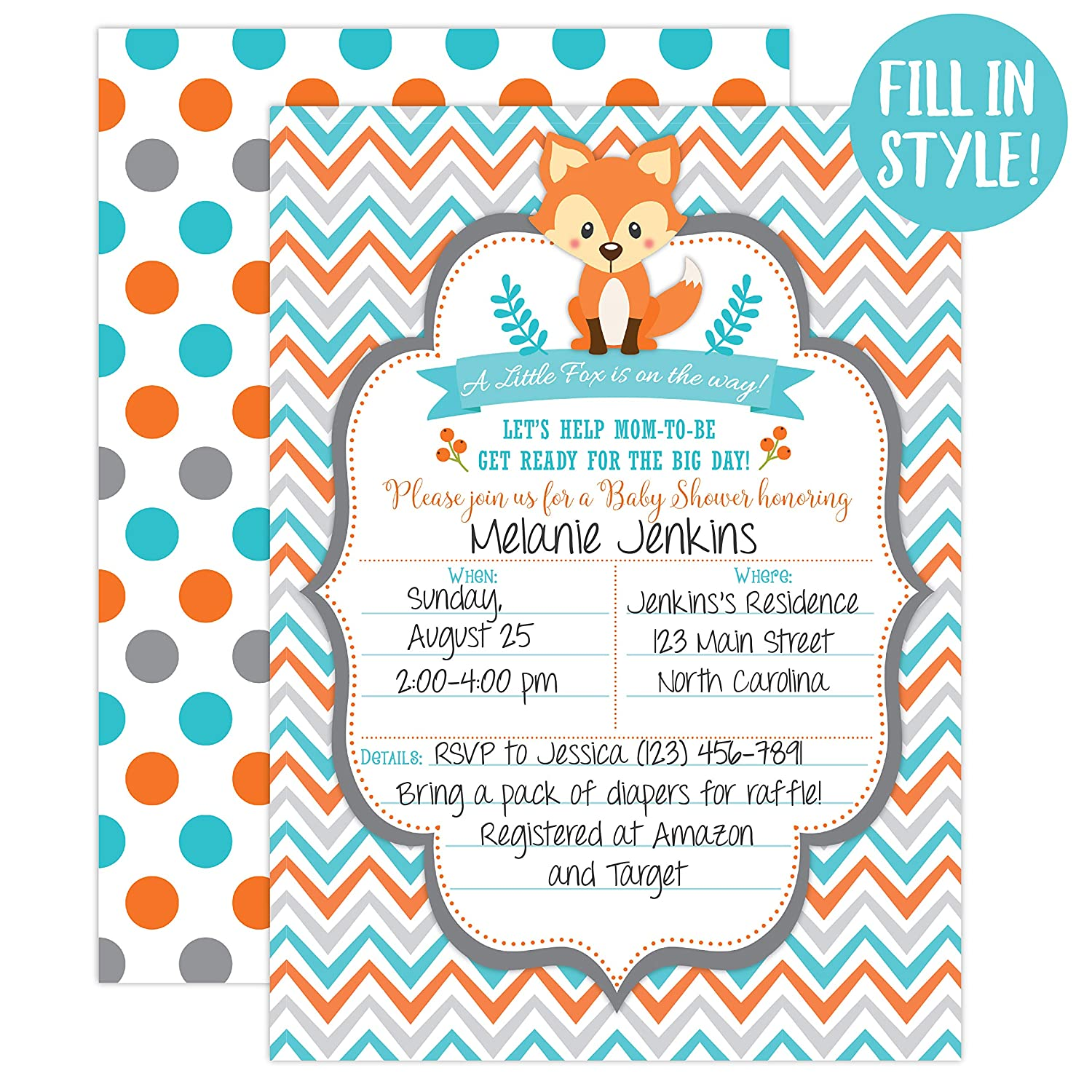 Fox Baby Shower Invitations, Woodland Baby Shower Invitations, Boy Baby Shower Invitations, Blue and Orange, Little Fox Invitations, 20 Fill in Invitations and Envelopes