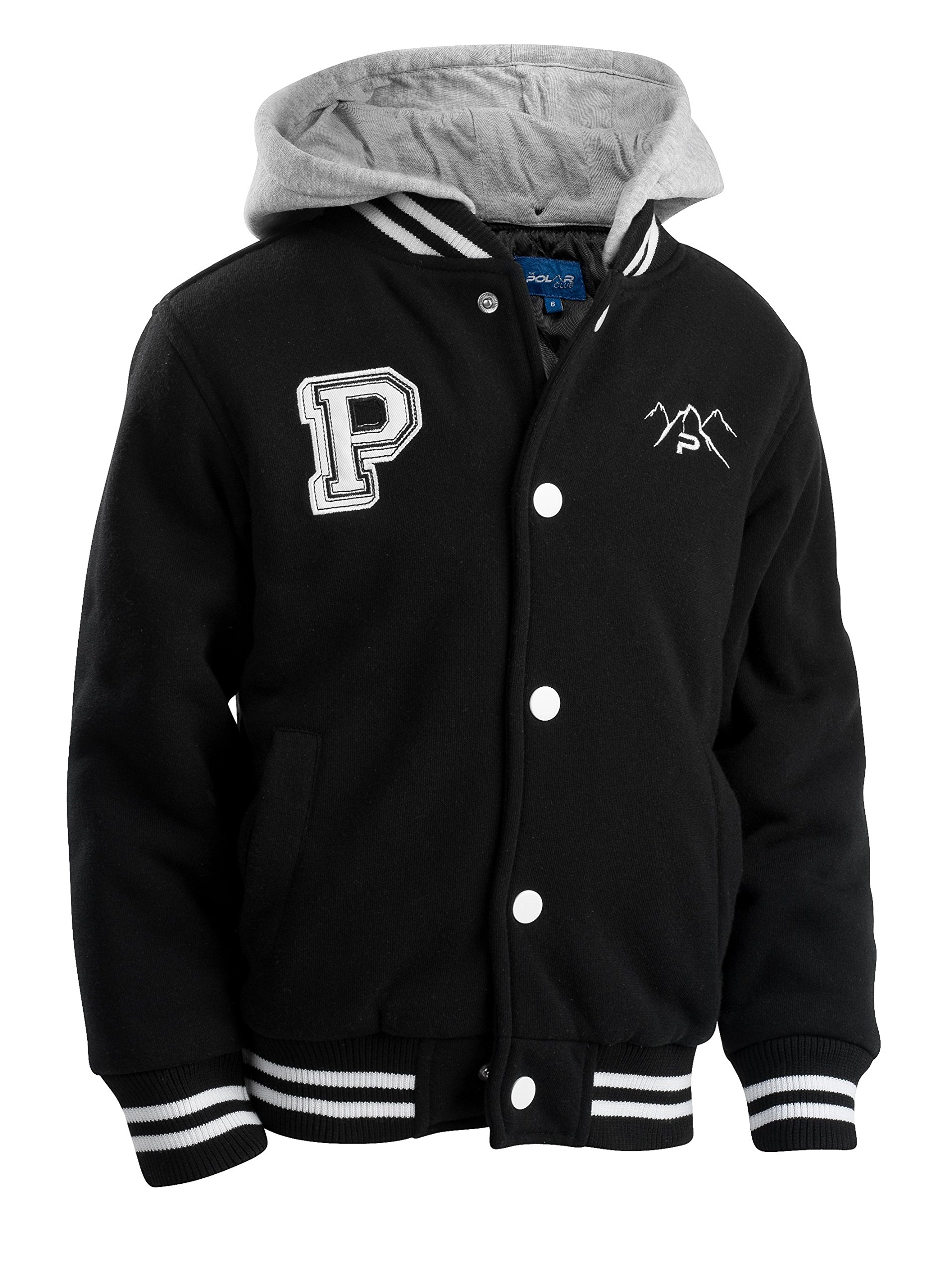 The Polar Club Big Boys' Fleece Varsity Baseball Jacket with Removable Hood (Black- L/14-16)