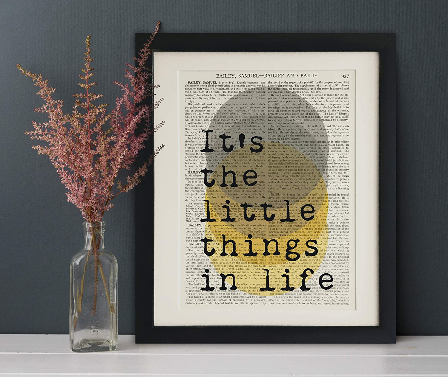 Its the little things in life FRAMED Quote Art Print on Old Antique Book Page Black Frame 12x10 Vintage Wall Art