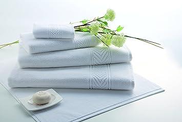 DhestiaHome - Toallas de Baño Calidad Hotel 100% Algodón 500 gr/m2. Blancas Espiga. (50x100 cm.): Amazon.es: Hogar