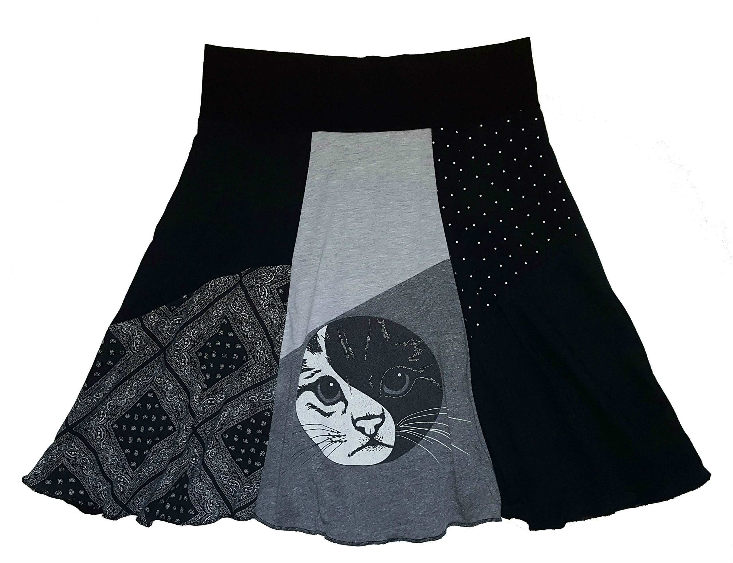 Yin Yang T-Shirt Skirt Women's Size L XL Handmade Upcycled One of a Kind Item