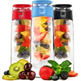 Vremi 24 Oz Fruit Infuser Water Bottle - BPA Free Tritan Reusable Plastic Water Bottle with Fruit Infusion Insert Basket and Flip Top Leak Proof Lid for Flavor Infused Beverage Sports Drinks