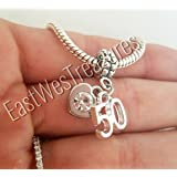 EWT Happy 50th 50 birthday anniversary celebration Charm Pendant for fit all brand & designer charm bracelets and any chain necklace