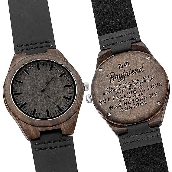 Kenon - Reloj de Madera para Hombre con Grabado Personalizado, Regalo para Padrinos con Caja