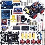 Neu Aufgerüstetes Bluetooth RC Smart Roboter Auto Set, Kuman UNO R3 Robotik-Kit Baukästen mit Streckenverfolgungsmodul, Ultraschallsensor, Servomotor, LED, Hupe, Tutorials für Arduino Projekt Anfänger, Kinder, Jugendliche, Bildung und mehr SM11