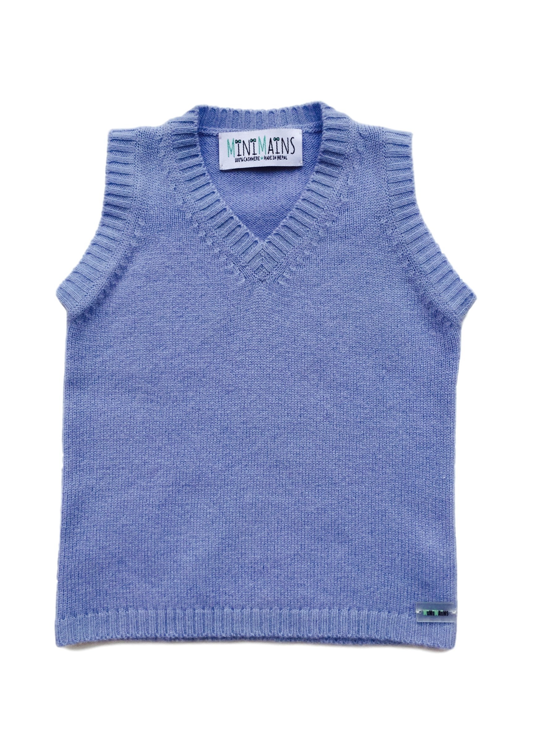Minimains Baby Boys' Pure Cashmere Sleeveless Vest 6-9 Months Blue by MINIMAINS