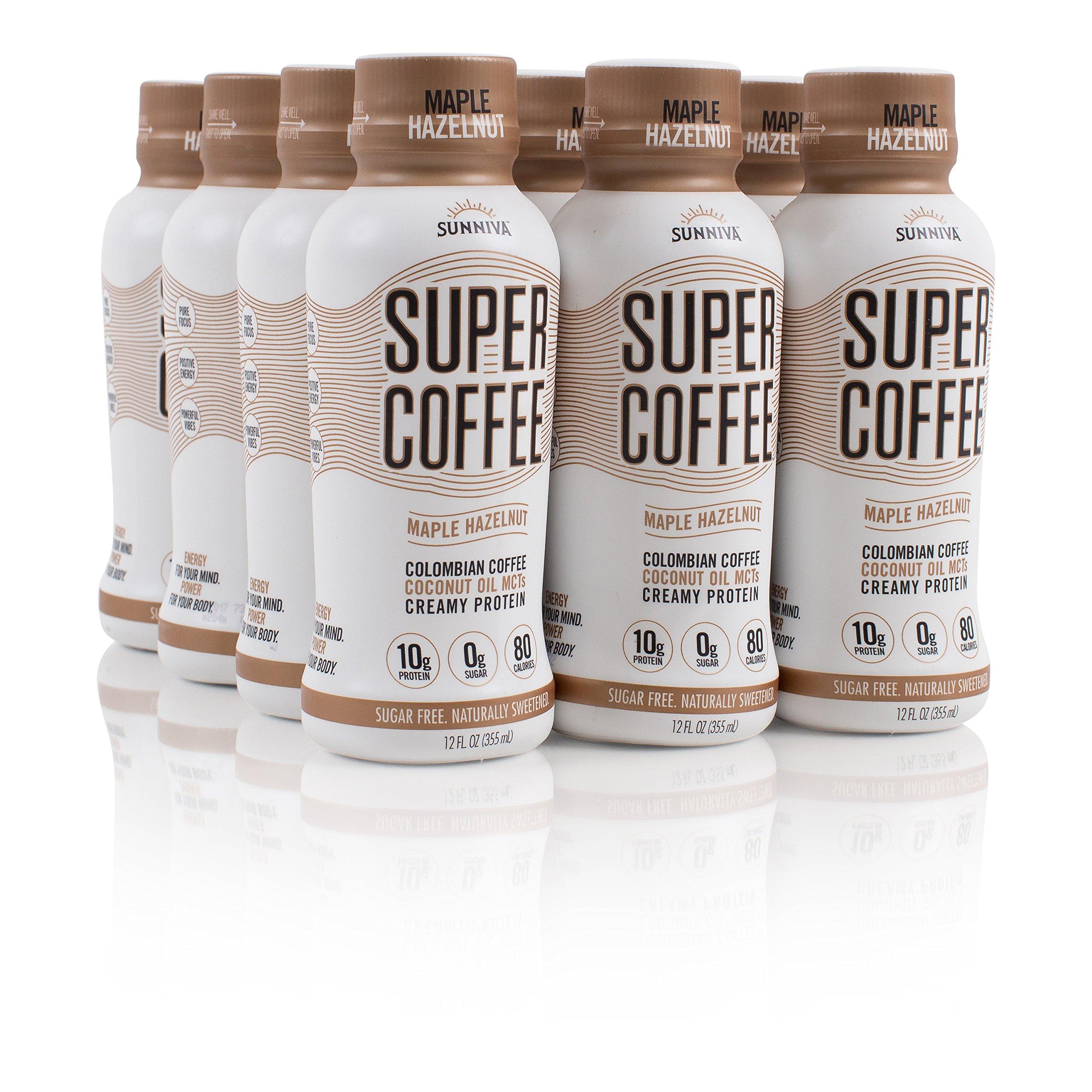 SUNNIVA Super Coffee Maple Hazelnut NEW Sugar-Free Formula, 10g Protein, Lactose Free, Soy Free, Gluten Free, Case of 12
