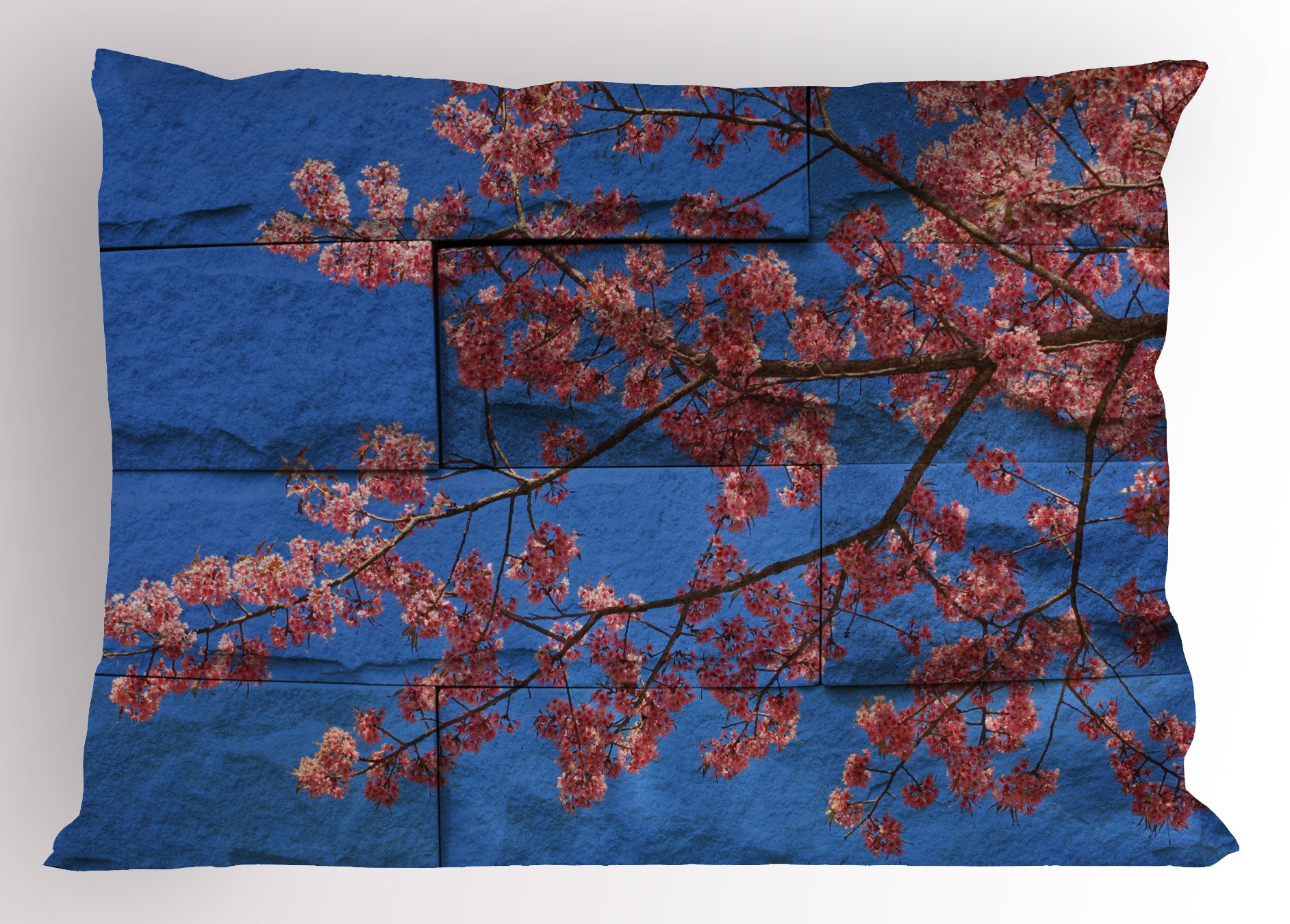 Lunarable Brick Wall Pillow Sham, Thai Sakura Blossom Mural Branch with Flowers Spring Floral Eastern Beauty Print, Decorative Standard King Size Printed Pillowcase, 36 X 20 inches, Pink Blue by Lunarable