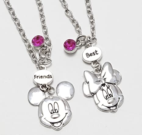 2 Collane Disney Con Ciondolo A Forma Di Faccia Di Minni E Topolino