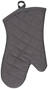 KAF Home Chefs Solid Oven Mitt, Pewter, 100% Cotton, Machine Washable, Made in USA