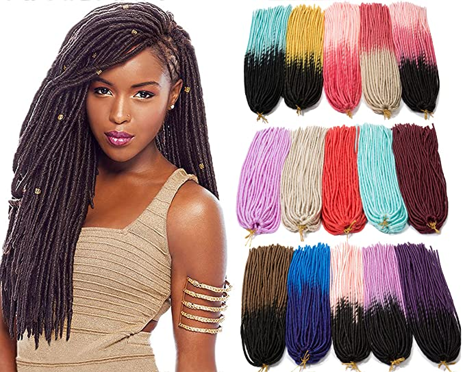 Amazon 60 Faux Locs Ombre Crochet Braiding Hair Extension Custom Braid Pattern For Crochet Faux Locs