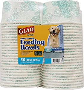 Glad for Pets Disposable Feeding Bowls   Disposable Dog Bowls in Assorted Designs   Dog Bowls are Great for Dry and Wet Dog Food or Water