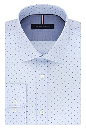 1edc539217b Tommy Hilfiger Men's Non Iron Slim Fit Print Spread Collar Dress Shirt at  Amazon Men's Clothing store: