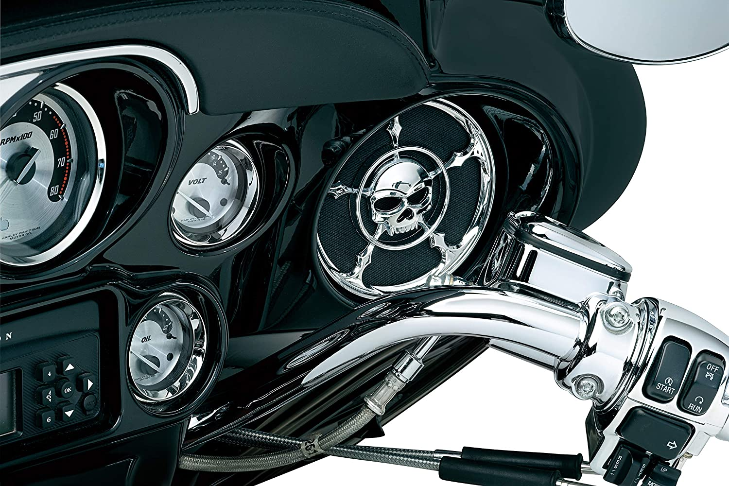 Kuryakyn 3787 Motorcycle Audio Accessory Chrome 1 Pair Zombie Skull Speaker Grill Accents for 1996-2013 Harley-Davidson Touring /& Trike Motorcycles