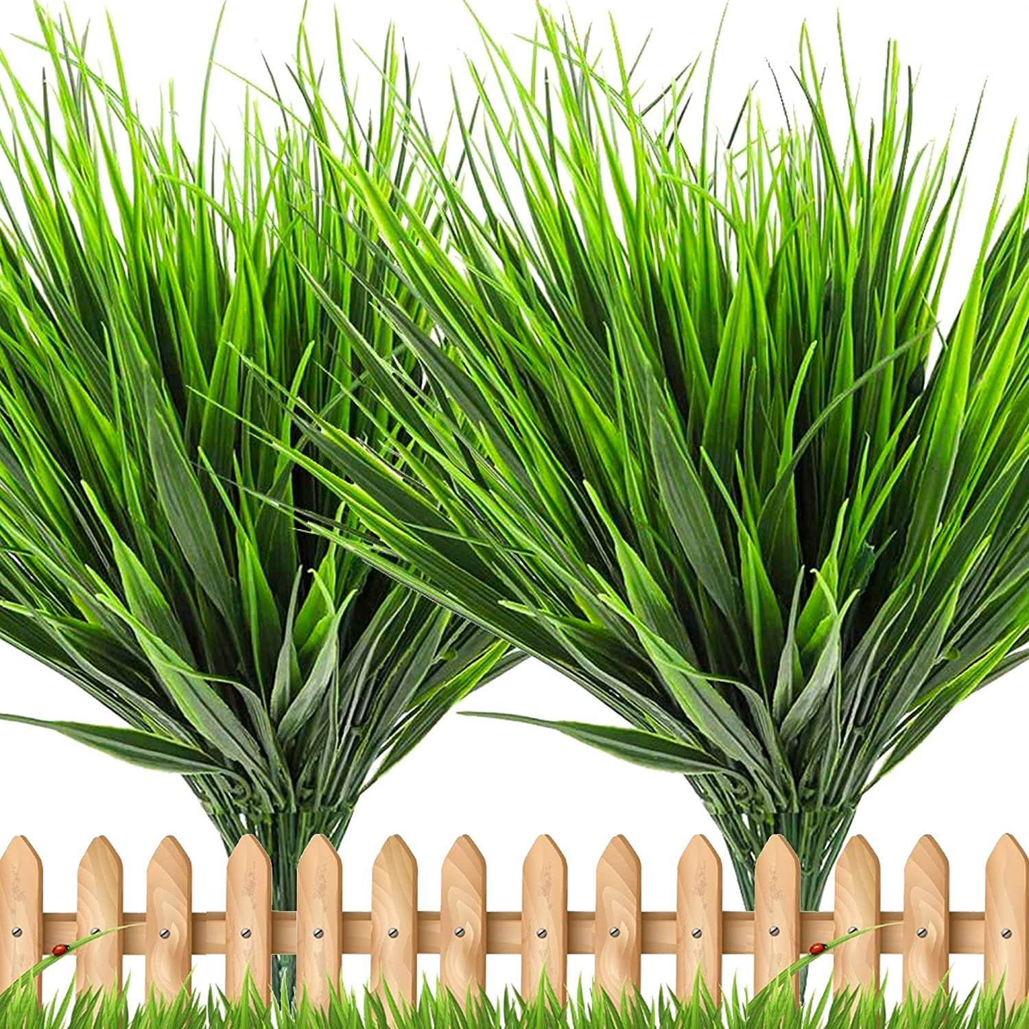 Artificial Wheat Fake Tall Grass - 10 Bundles Outdoor Plants Greenery Flowers UV Resistant Faux Plastic Shrubs Stems for Home Garden Porch Patio Decorations Office Indoor Restaurants (Green Grass)