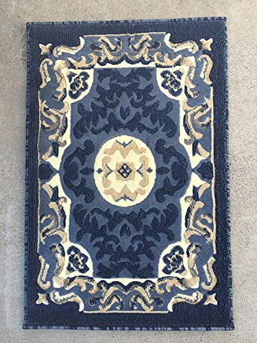 Carpet King Traditional Door Mat Persian Area Rug Light Blue Beige Navy Design 101 2 Feet X 3 Feet