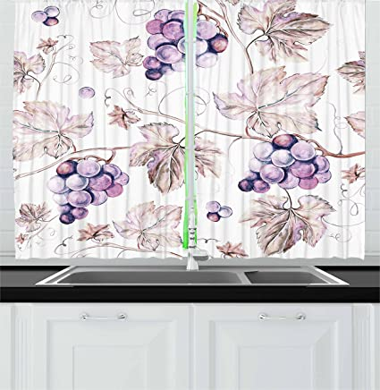 Vine Kitchen Curtains By Lunarable, Vintage Drawing Style Hand Drawn Grapes  And Detailed Leaves Nature