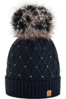 7099ad385f136 Women Girls Winter Beanie Hat Wool Knitted CRYSTAL with Large Pom Pom Cap  SKI…