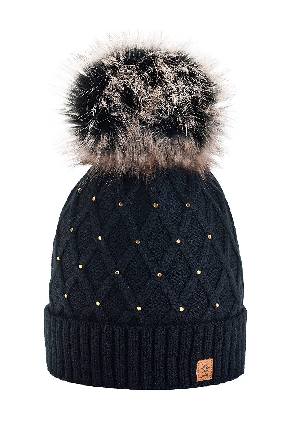 2d0d26545ea Women Girls Winter Beanie Hat Wool Knitted Crystal with Large Pom Pom Cap  Ski Snowboard Hats (Black) MFAZ Morefaz Ltd  Amazon.co.uk  Clothing