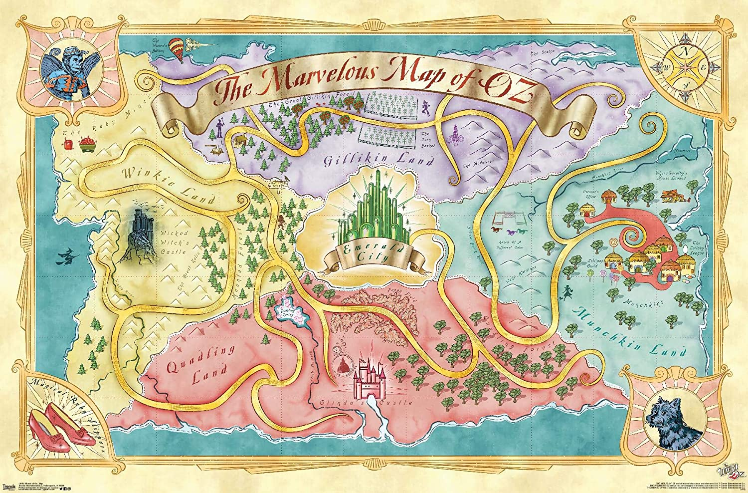 Amazon Com Trends International Wizard Of Oz Map Wall Poster 22 375 X 34 Premium Unframed Version Posters Prints