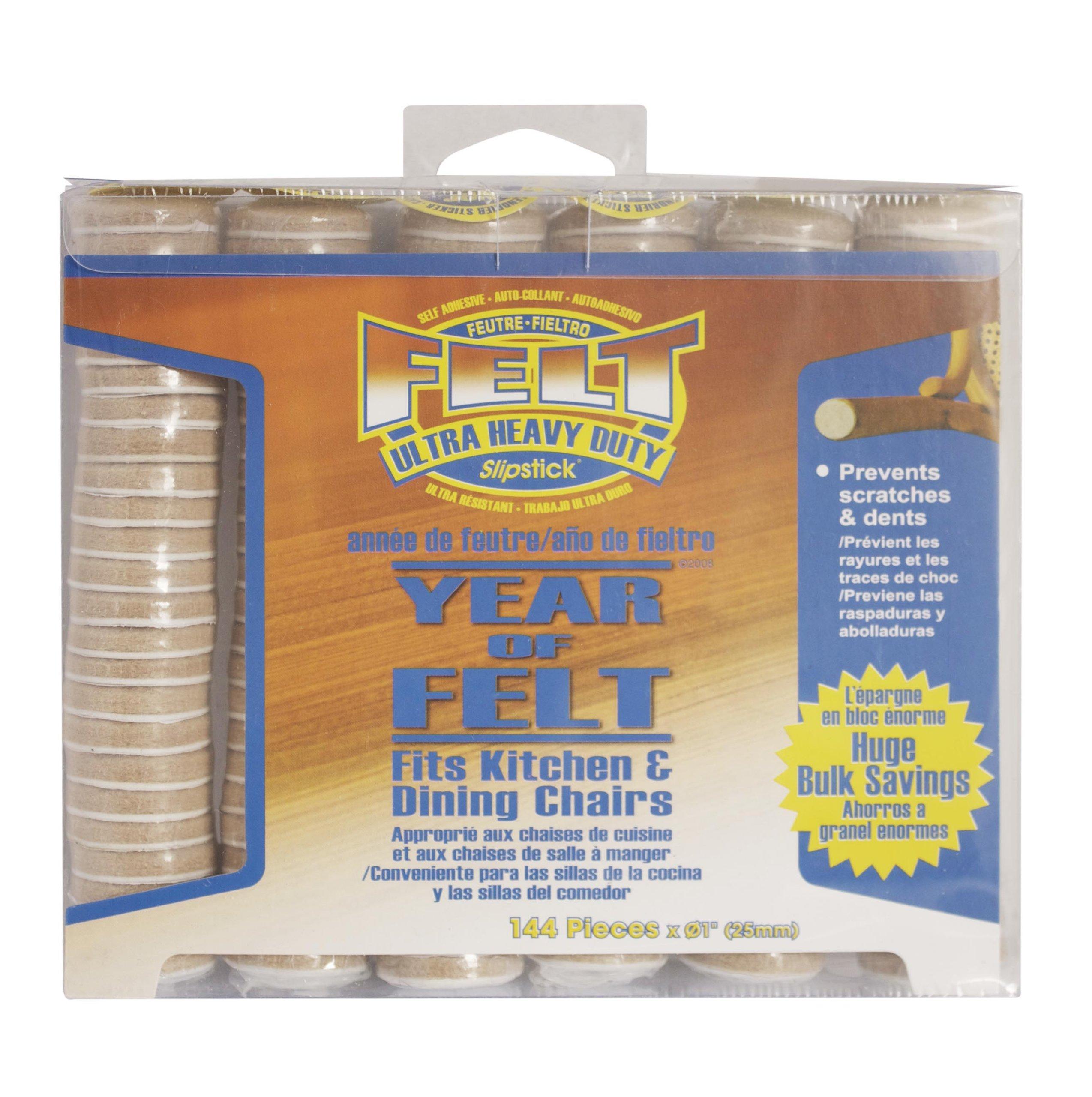 Slipstick CB113 1 Inch Self Stick Felt Pads / Furniture Floor Protectors (144 Piece Value Pack) Round Adhesive Felt Sliders