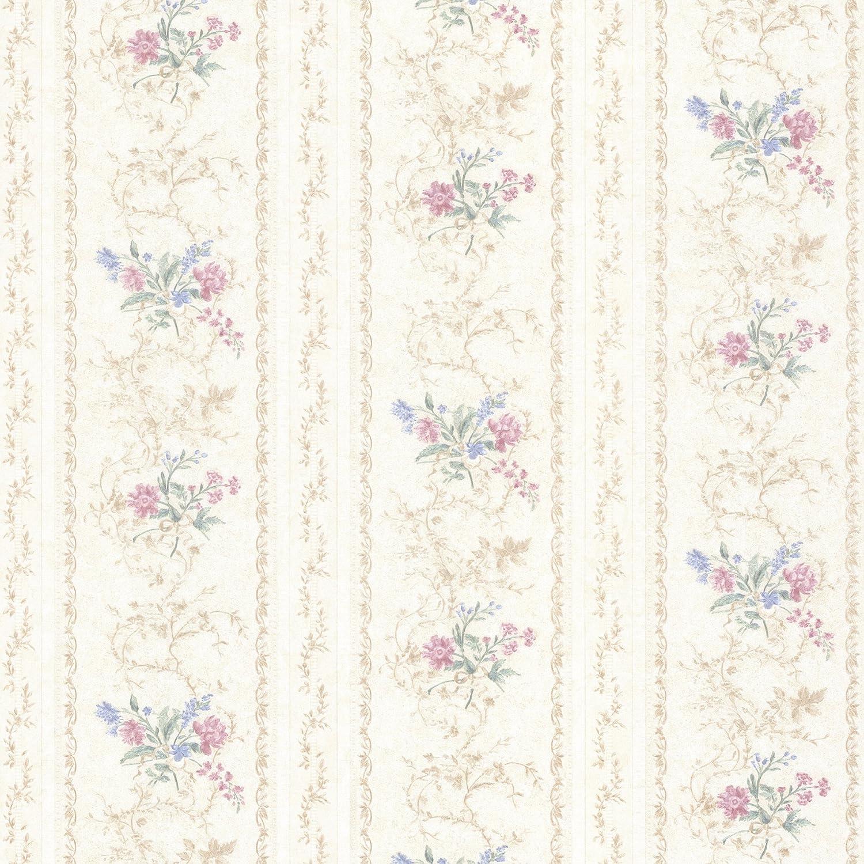 Mirage 992 68335 Maury Floral Bouquet Stripe Wallpaper Pink
