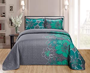 Home Collection Quilt Bedspread Set Over Size Flowers Printed Grey Turquoise Full/Queen New