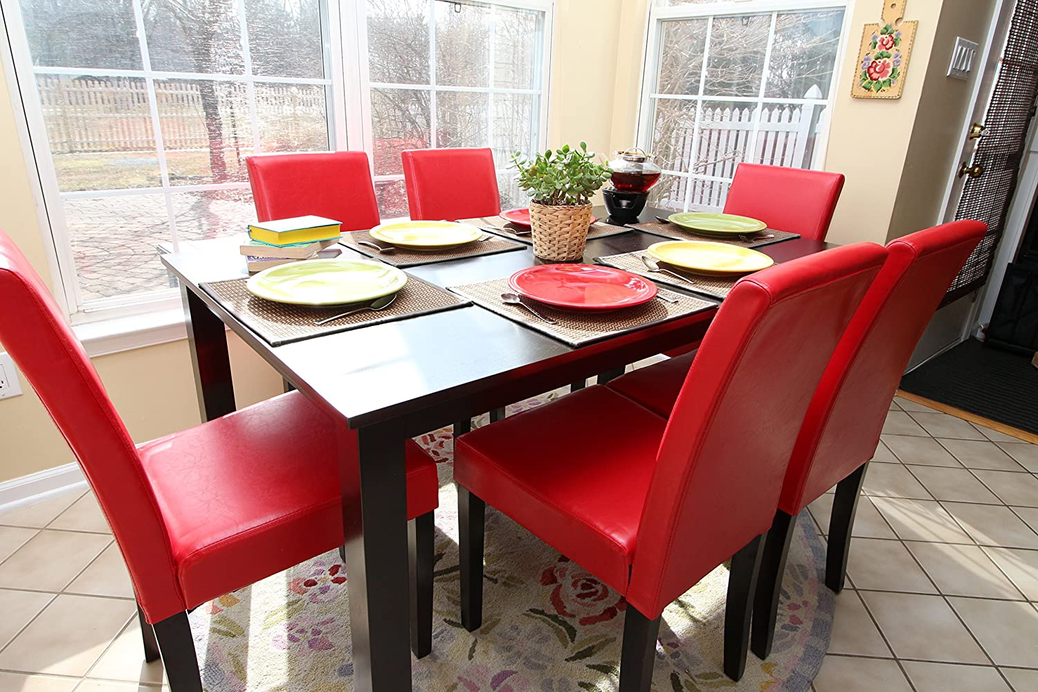 Amazon com   7 pc Red Leather 6 Person Table and Chairs red Dining Dinette    Red Parson Chair   Table   Chair SetsAmazon com   7 pc Red Leather 6 Person Table and Chairs red Dining  . Dining Table And 6 Red Leather Chairs. Home Design Ideas