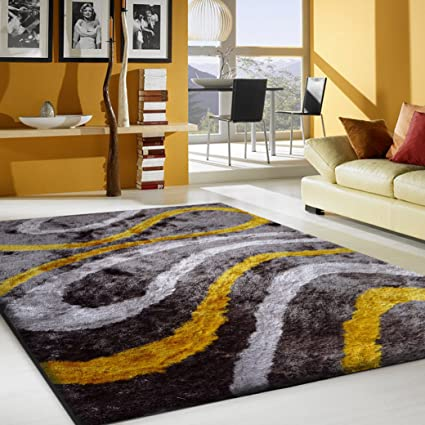 Alfombra Color Gris Combinado con Amarillo hecha a mano estilo moderno suave y lujosa , gruesa