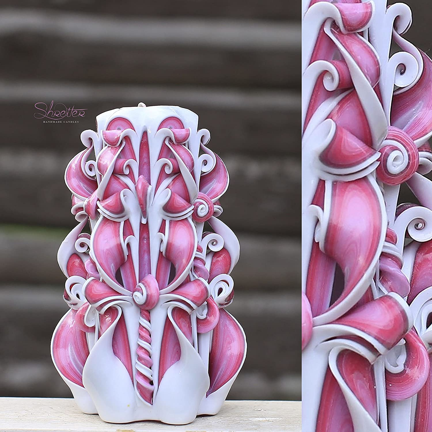 Valentine/'s day gift Hand Carved candles 6.7 inch// 17cm Purple candle