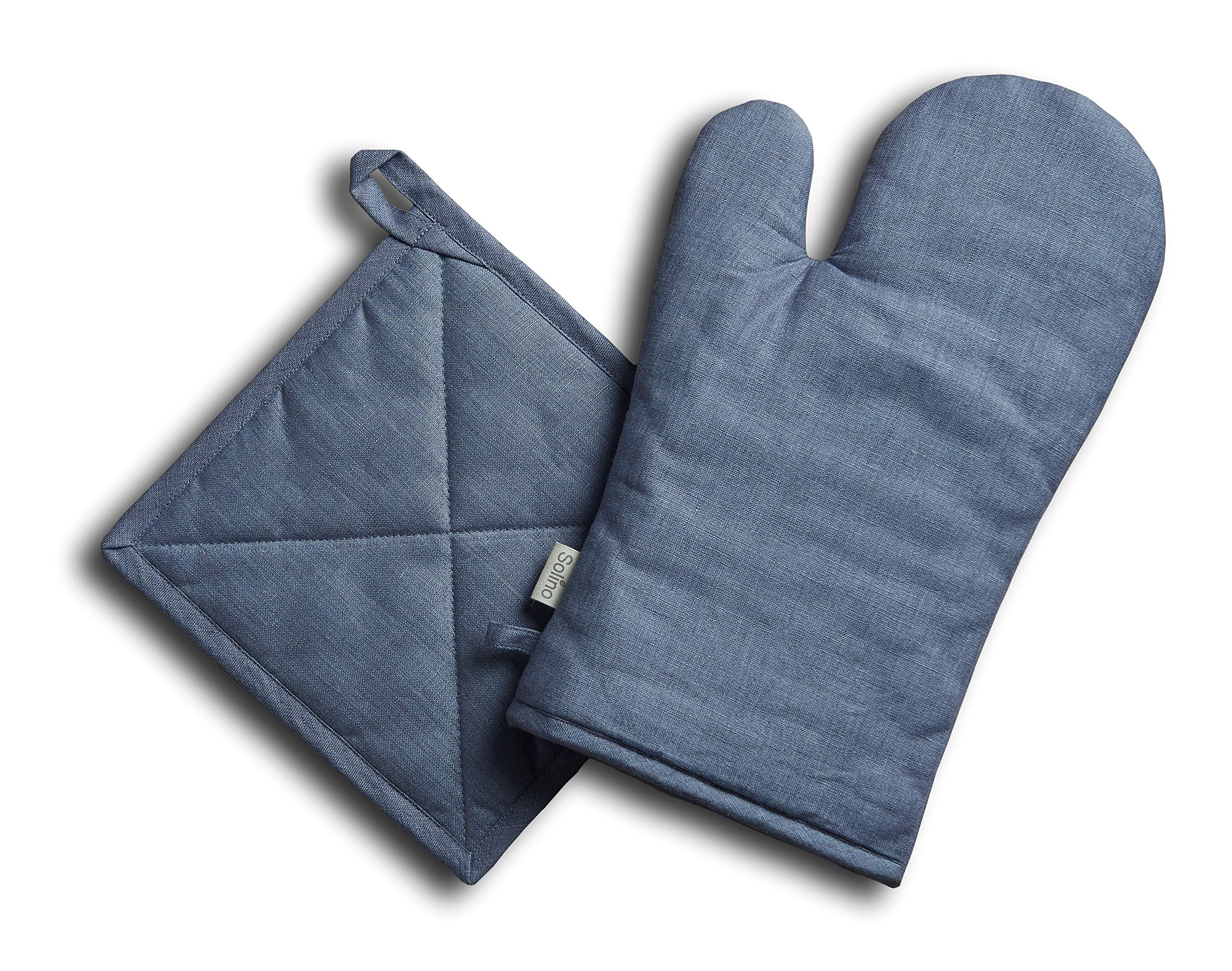 Solino Home Pure Linen Oven Mitt and Pot Holder Set - Grey, Oven Mitt (6.5 Inch x 12.5 Inch) and Pot Holder (8 Inch x 8 Inch) by Solino Home