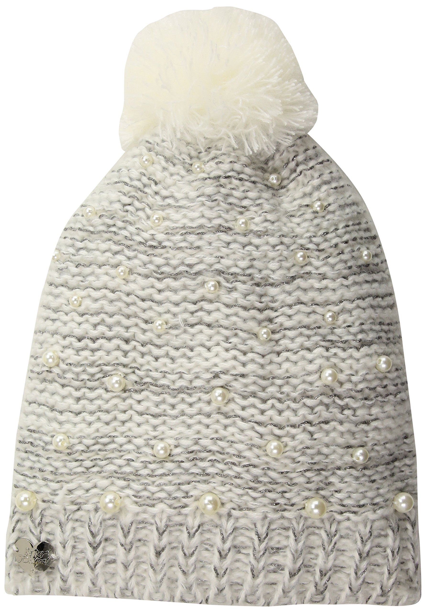 Betsey Johnson Women's Cascading Pearls Beanie, Ivory, ONE SIZE
