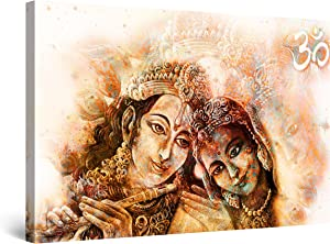 Startonight Canvas Wall Art Decor Abstract Indian Couple Brown Painting for Living Room 32
