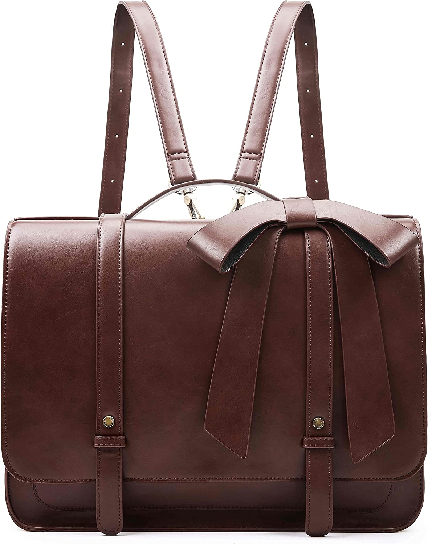 ECOSUSI 14 Laptop Messenger Briefcase Women Vintage Bag Ladies Satchels Backpack with Bow