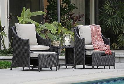 Amazon.com: Serta Laguna exterior sofá café de mimbre con ...