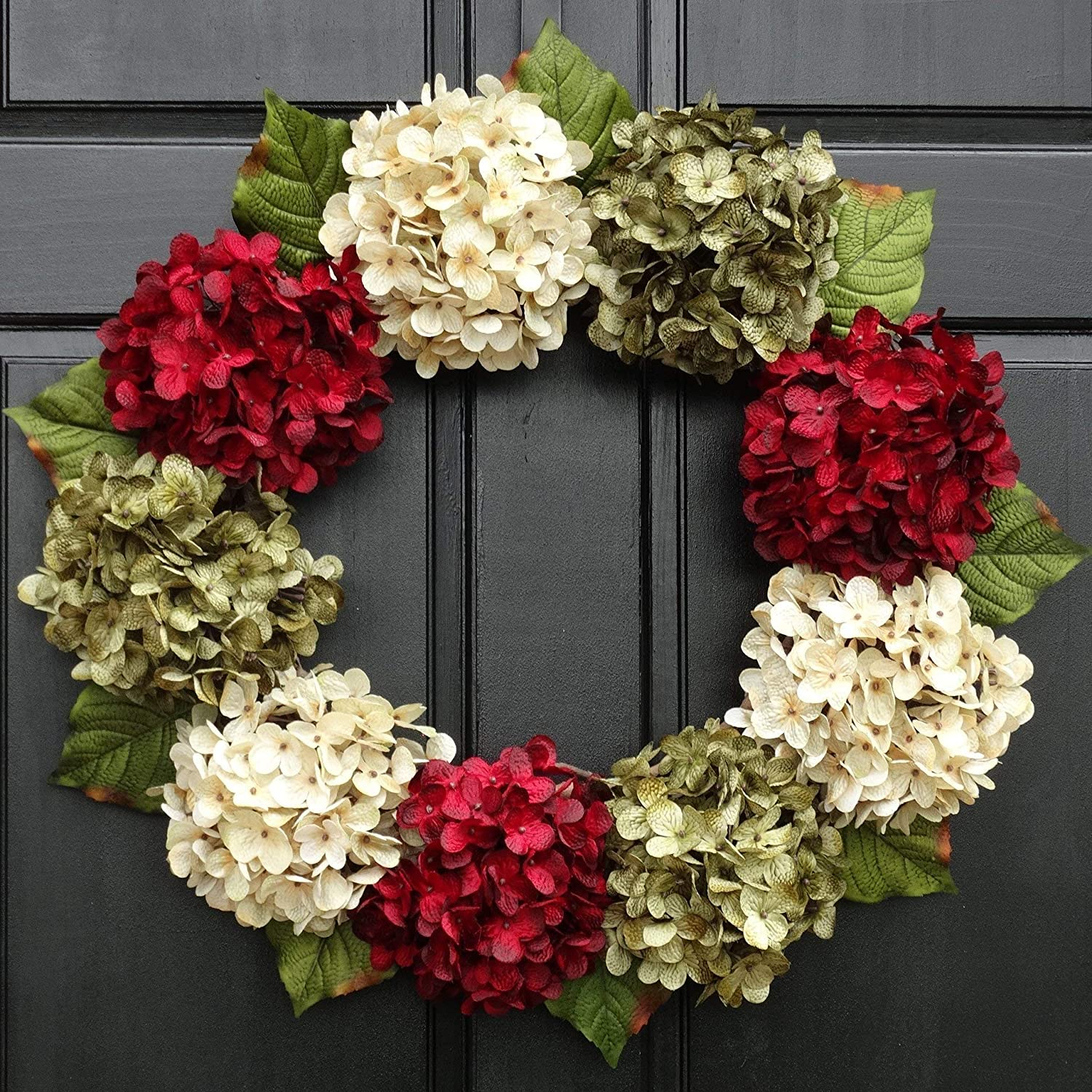 Amazon Com Artificial Hydrangea Christmas Wreath For Holiday Front