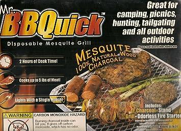 Sr. bbquick desechables Mesquite – Barbacoa de carbón vegetal para barbacoa al aire libre para