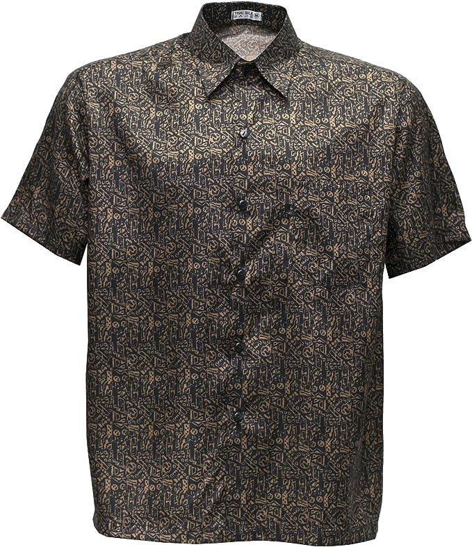 Camisa para hombre de manga corta, tejido de seda tailandesa, con diseño en estampado dorado, pequeña, dorado, X-Large: Amazon.es: Hogar