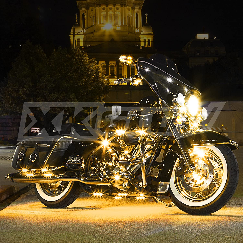 AMBER 8 POD 2 STRIP LED Universal Motorcycle Accent Neon Underglow Light Kit