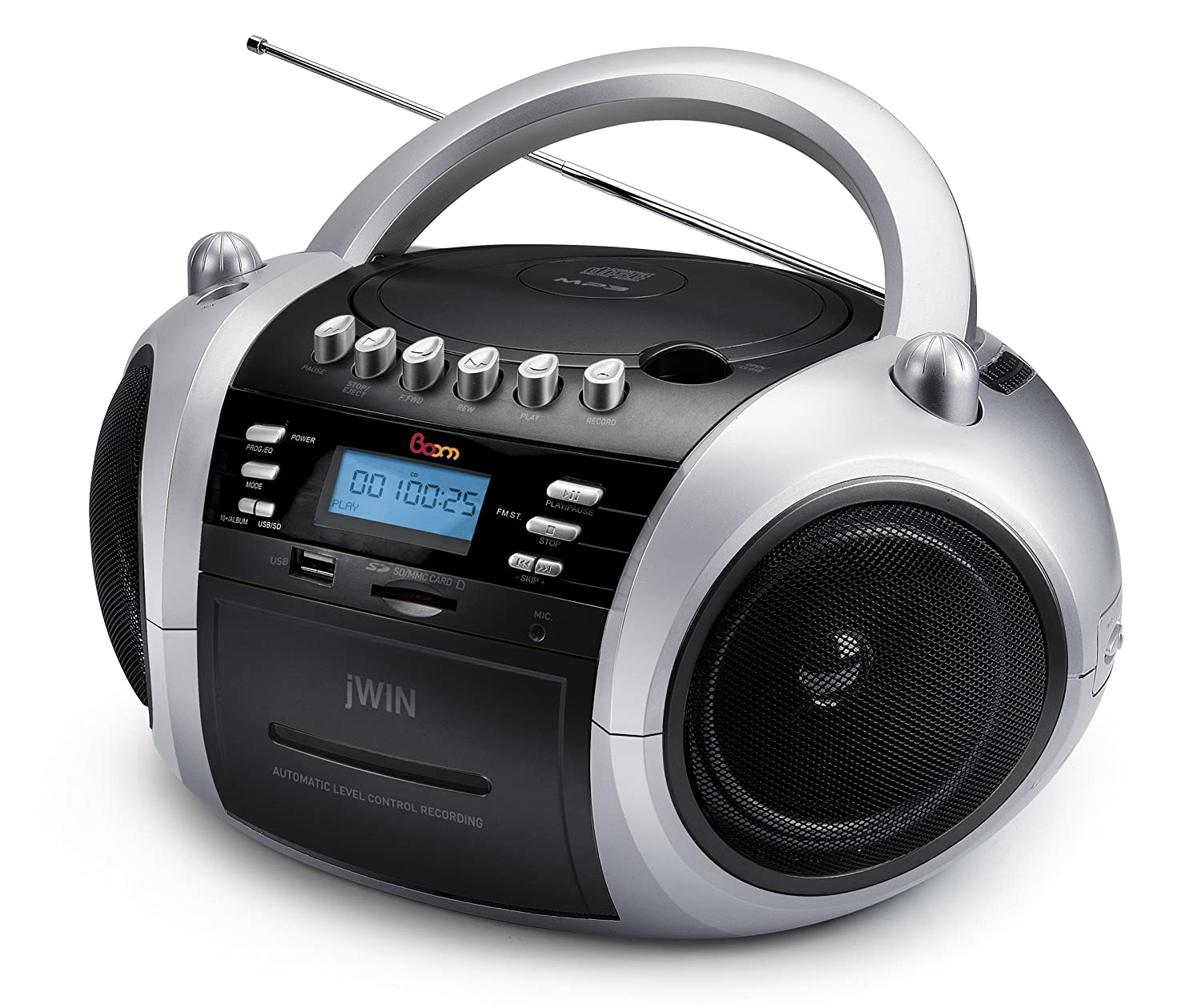 Amazon.com: jWIN JXCD573BLK Portable MP3/CD Boombox with AM/FM Radio,  Cassette Player and USB/SD/MMC (Black): Home Audio & Theater