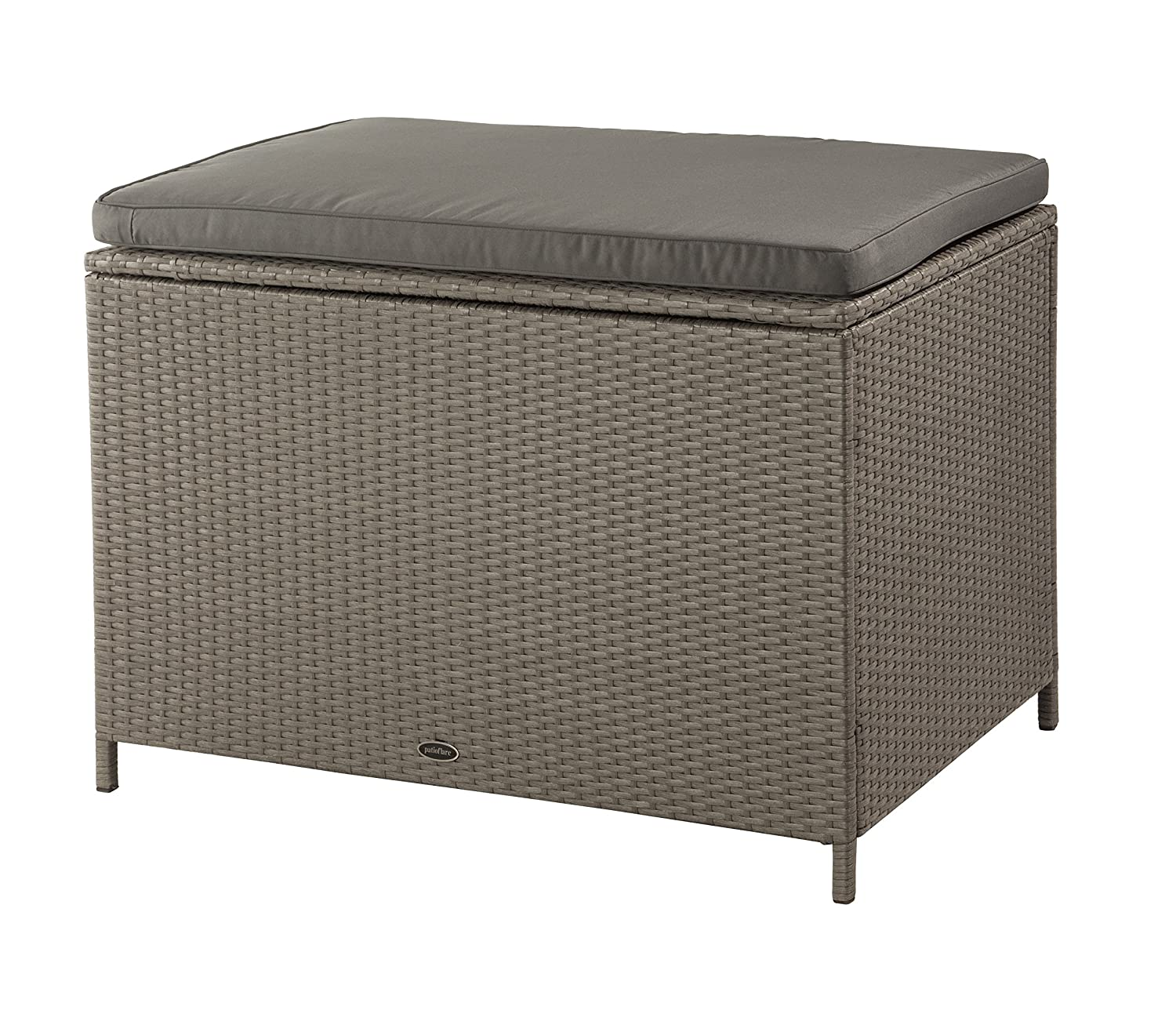 Patioflare PF-AC-209C-BR Ferrara KD Deck Box Waterproof Seat with Brown Wicker, Dark Grey Cushion