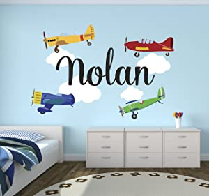 Personalized Airplanes Name Wall Decal - Baby Boy Room Decor - Nursery Wall Decals - Airplanes Clouds Wall Decal Vinyl Sticker Boys