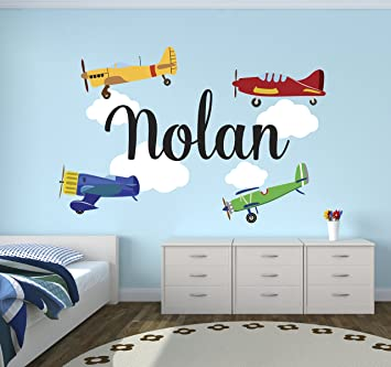 Amazoncom Personalized Airplanes Name Wall Decal Baby Boy Room