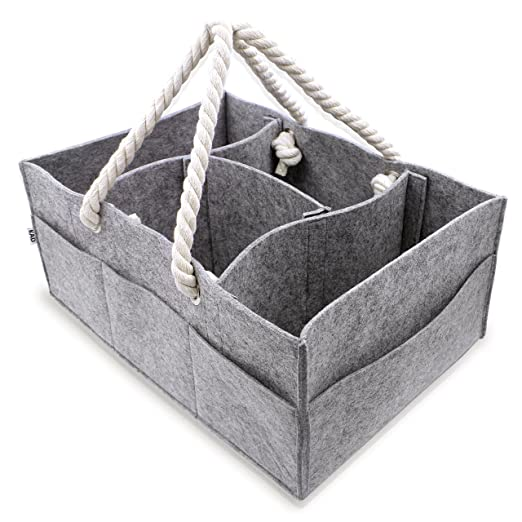 Gray MaidMAX Baby Diaper Caddy Portable Changing Table Organizer Nursery Storage Bin with Adjustable Compartments for Diapers Toys Wipes Baby Essentials